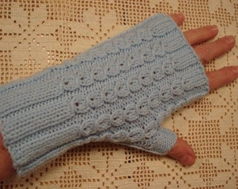 Baby blue fingerless mitts