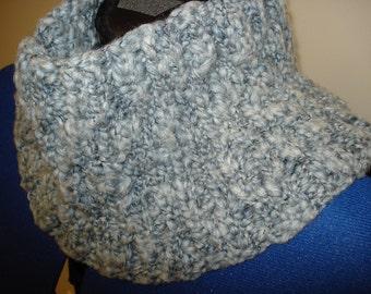 Grey hand knit cowl