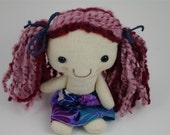 Purple Pink Pocket Cloth Rag Doll, Vegan, Made in Australia, Upcycled Fabrics, Sustainable, 8 inches, Newborn Toy