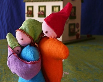 Attached Family - 4 piece doll set - Mamma, Dad, newborn and baby carrier.