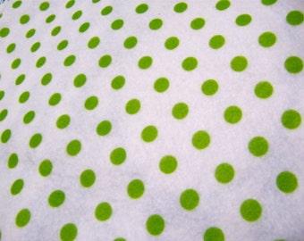 Felt Green Dots on White Printed Polka Dots Felt