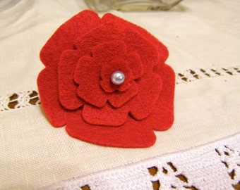 Red Ivory Flower  Felt cutout