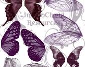Purple Hue Wings Digital Collage Sheet JPG