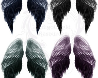 Painted Angel Wings Digital Collage Sheet JPG