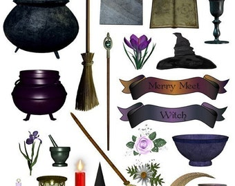 Witch Goodies Digital Collage Sheet JPG
