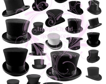 Top Hats Digital Collage Sheet JPG