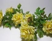 Vintage Plastic Yellow Roses--Circa 70s