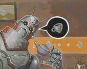 Robot tea time -- original acrylic painting