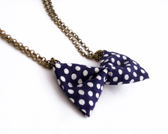 Bow necklace with blue polka dots fabric and bronze metal chain with little heart - jewelry necklace, simple and charming