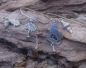 Fine silver multiway interchangeable mix and match charm earrings  Enchanted Forest - 7 pairs in  one