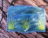 Machine Embroidered Enchanted River Dragonfly Small  Faery shoulder bag