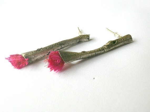 Twig Ear Studs with Magenta Hot Pink Silk - Sterling Silver Earrings with Wood Texture - Unique Contemporary Design