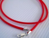 SALE Cherry Red Rubber Cord Necklace with Sterling Silver Clasp 18 Inch