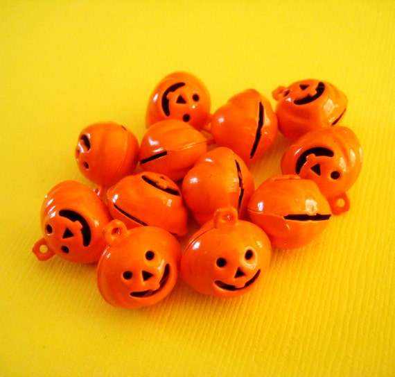 Mini Orange Jack O'Lantern Halloween Jingle Bell Charms, 12 pcs