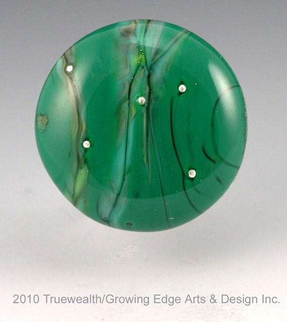 CLEARANCE....Malachite... organic lampwork CABOCHON Growing Edge Glass SRA