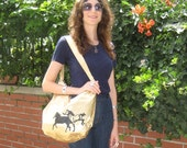 Slouchy Shoulder Bag in Gold Shimmer with Stallions print