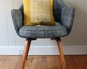 16 in. Square Throw Pillow - Sunshine Yellow with Grid print - wickedmint