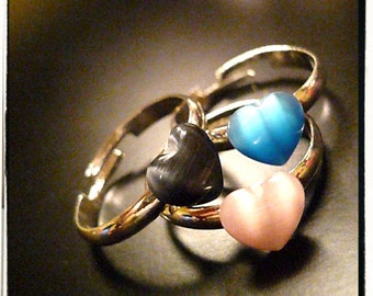 Emanate Love Cats Eye Heart Stackable Rings