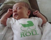 Green Hot Rod Stroller That's How I Roll Boys or Girls Baby Onesie - YOU CHOOSE SIZE
