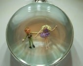 Glass Locket with Micro Miniature Figures