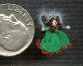 Green and Red Christmas Angel in 1/144th scale or 1/12th scale ornament