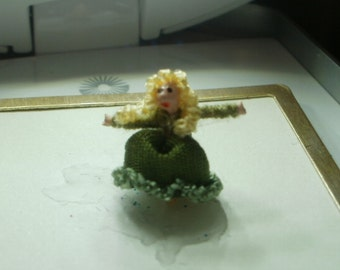Fairy Tale Princess in Forest Green /micro-miniature