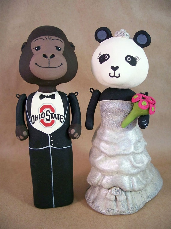 Custom Wedding Cake Topper - Gorilla Groom and Panda Bride RESERVED