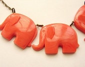 Limited Edition- Elephant Parade - vintage coral pink elephant necklace - a great gift