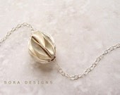 silver seed necklace - silver ruffled seed necklace, seed of growth, delicate dainty everyday necklace