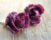 Plum Rose Posts Earrings - purple rose studs, floral accessory, Tiny rose posts earrings