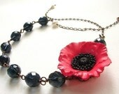 Red Poppy Flower Necklace, red statement necklace, bridesmaid jewelry set, floral accessory