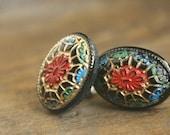 Vintage mosaic studs, glass post earrings in crimson, gold, blue, black vintage post earrings