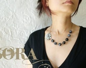 SALE Gray Rose Necklace, Statement Necklace Dove gray Rose with Black and White Stones, black rose necklace