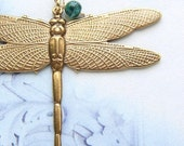 Dragonfly necklace, Mothers day gift, jade bronze dragonfly pendant 14t gold filled chain necklace