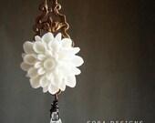 Bridesmaid jewelry, White Gardenia Necklace, Wedding jewelry Swarovski crystal custom necklace gift for teen girls