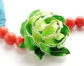 Perennial Awakening - Vintage repurposed OOAK (one of a kind) lime green flower  bracelet tangerine orange brooch teal green silk ribbon