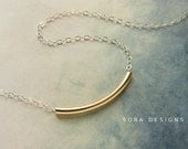 Gold bar necklace, mixed metal bar chain necklace Simple everyday necklace delicate dainty necklace, gold bar necklace