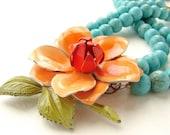 Tangerine Orange Statement Necklace - double strands turquoise, OOAK vintage enamel brooch, orange blossom necklace