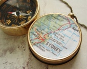 Personalized map compass necklace keychain, custom map, choose your city, personalized gifts anniversary graduation for him her