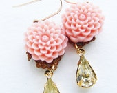 Blush Pink pale lemon earrings, bridesmaid jewelry, jonquil rhinestone, citrine and blush pink flower earrings