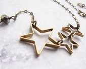 Star necklace - open star silhouette necklace modern geometric necklace, simple everyday brass jewelry