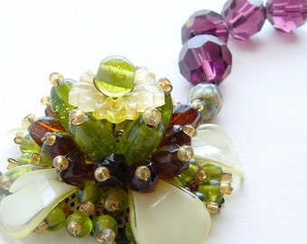Statement necklace, plum flower statement necklace, beaded glass flower statement necklace, olivine aubergine flower
