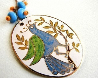 Vintage Peacock Statement Necklace, vintage enamel peacock necklace, long statement necklace
