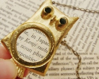 Owl Statement necklace, magnifying glass necklace, Mothers day gift, gold magnifying glass long necklace, owl jewelry necklace