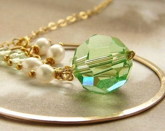 Birthstone necklace, bridesmaid jewelry,  Gold circle clustered pearls Peridot crystal drop custom bridal wedding bridesmaid necklaces