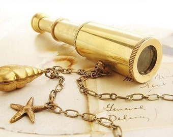 Miniature Spyglass Necklace - working telescope necklace, telescope necklace - anchor charm seahorse necklace