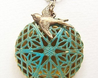 Blue filigree locket pendant necklace, essential diffuser locket necklace, Turquoise filigree bird locket, bird locket necklace