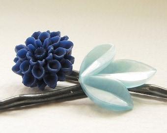 Sapphire blue hair pins, vintage aquamarine leaf, navy flower bobby pins, bridal hair accessory