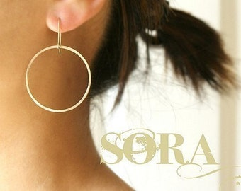 Large Gold Hoop Earrings, hand hammered gold hoops - simple modern hoops, minimal hoop earrings