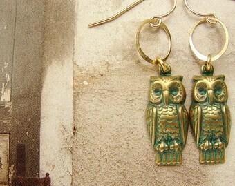 Owl dangle Earrings, verdigris moss green owl dangle earrings, rustic owl 14kt gold filled owl earrings